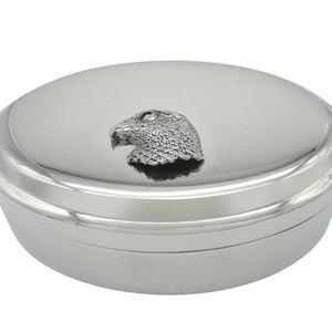 Hawk Bird Head Pendant Oval Trinket Jewelry Box